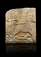 Hittite relief sculpted orthostat stone panel of Long Wall Limestone, Karkamıs, (Kargamıs), Carchemish (Karkemish), 900 - 700 B.C. Chariot. Anatolian Civilisations Museum, Ankara, Turkey<br /> <br /> One of the two figures in the chariot holds the horse's headstall while the other throws arrows. There is a naked enemy with an arrow in his hip lying face down under the horse's feet It is thought that this figure is depicted smaller than the other figures since it is an enemy soldier. The lower part of the orthostat is decorated with braiding motifs. . <br /> <br /> On a black background. .<br />  <br /> If you prefer to buy from our ALAMY STOCK LIBRARY page at https://www.alamy.com/portfolio/paul-williams-funkystock/hittite-art-antiquities.html  - Type  Karkamıs in LOWER SEARCH WITHIN GALLERY box. Refine search by adding background colour, place, museum etc.<br /> <br /> Visit our HITTITE PHOTO COLLECTIONS for more photos to download or buy as wall art prints https://funkystock.photoshelter.com/gallery-collection/The-Hittites-Art-Artefacts-Antiquities-Historic-Sites-Pictures-Images-of/C0000NUBSMhSc3Oo
