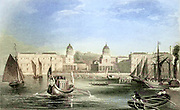 Machine colourised image of London Greenwich Hospital on the Thames From the book Illustrated London, or a series of views in the British metropolis and its vicinity, engraved by Albert Henry Payne, from original drawings. The historical, topographical and miscellanious notices by Bicknell, W. I; Payne, A. H. (Albert Henry), 1812-1902 Published in London in 1846 by E.T. Brain & Co