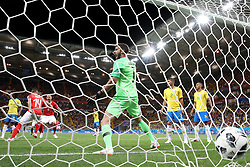 ROSTOV-ON-DON, June 17, 2018  Steven Zuber (2nd L) of Switzerland celebrates scoring during a group E match between Brazil and Switzerland at the 2018 FIFA World Cup in Rostov-on-Don, Russia, June 17, 2018. The match ended in a 1-1 draw. (Credit Image: © Li Ming/Xinhua via ZUMA Wire)