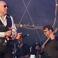 Italian singer Mario Biondi (L) performs on the main stage at the Paloznak Jazz Picnic music festival held in Paloznak, Hungary on July 29, 2021. ATTILA VOLGYI