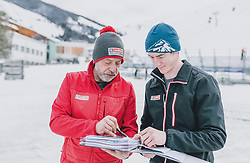 06.02.2020, Zwölferkogel, Hinterglemm, AUT, FIS Weltcup Ski Alpin, Saalbach Hinterglemm, Vorberichte, im Bild v.l.: Andreas Eberharter und Christian Erlbacher (Technik und Aufbauen Ziel) // f.l.: Andreas Eberharter and Christian Erlbacher (technics and buildings)  before the FIS Ski Alpine World cup at the Zwoelferkogel in Hinterglemm, Austria on 2020/02/06. EXPA Pictures © 2020, PhotoCredit: EXPA/ JFK