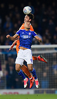 Blackpool's Ben Heneghan vies for possession with Ipswich Town's Kayden Jackson<br /> <br /> Photographer Chris Vaughan/CameraSport<br /> <br /> The EFL Sky Bet League One - Ipswich Town v Blackpool - Saturday 23rd November 2019 - Portman Road - Ipswich<br /> <br /> World Copyright © 2019 CameraSport. All rights reserved. 43 Linden Ave. Countesthorpe. Leicester. England. LE8 5PG - Tel: +44 (0) 116 277 4147 - admin@camerasport.com - www.camerasport.com