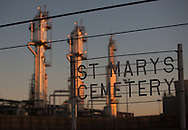 The  St. Mary's Cemetery in Bloomfield, NM, next to a Conoco-Phillips San Juan Gas Plant. Bloomfield is in the northwestern part in New Mexico in the San Juan Basin.