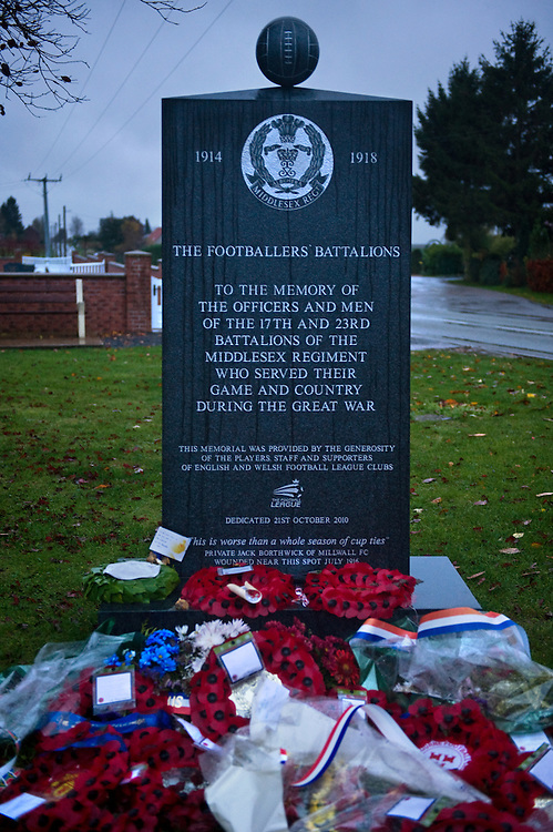 A memorial to the Footballers' Battalion in Longueval, France