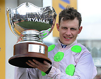 National Hunt Horse Racing - 2019 Cheltenham Festival - Thursday, Day Three (St Patrick's Day)<br /> <br /> P Townend on Min with the trophy in the 14.50 Ryan Air Steeple Chase (Grade 1, Class 1), at Cheltenham Racecourse.<br /> <br /> COLORSPORT/ANDREW COWIE