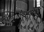 Franciscan Friary Choir Conducted by Licinio Refice at Merchant's Quay.09/05/1954...Licinio Refice (12/02/1883 – 11/09/1954) was an Italian composer and priest. With Monsignor Lorenzo Perosi, he represented the new direction taken by Italian church music in the twentieth century..His first opera Cecilia, about the legend of Saint Cecilia, created a sensation with its premiere in Rome in 1934; Claudia Muzio took the title role. His second opera Margherita da Cortona had its premiere in 1938. A third one, Il Mago (1954), was left incomplete (within the first act)..Refice died in 1954 during a performance of Cecilia in Rio de Janeiro; Renata Tebaldi was singing the title role in the performance..