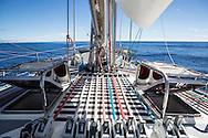 North Atlantic Ocean, October 2014.<br /> Lines and bow view of the Sea Dragon.<br />  © Chiara Marina Grioni