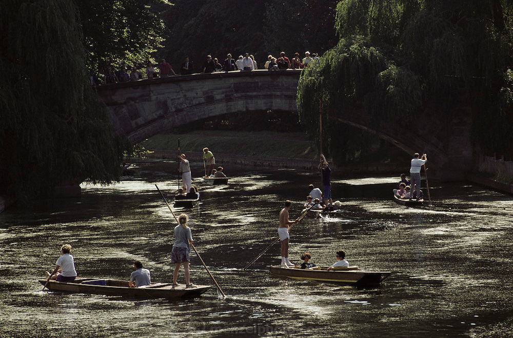 Punting on the River Thames in Oxford, England.