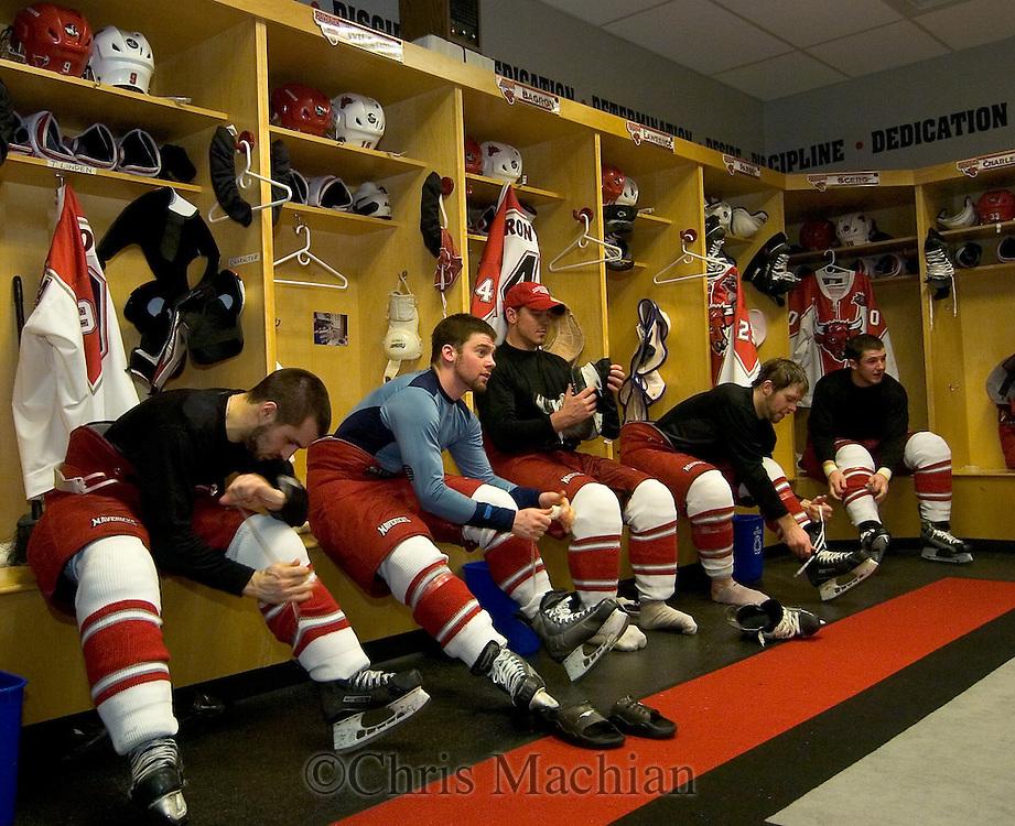 3/3/07 Omaha , NE  -- From Left: University of Nebraska  at Omaha players Alex Nikiforuk, Chris Wilson, Bill Bagron, Mick Lawrence and Brandon Scero. ((Chris Machian/Prairie Pixel Group)..
