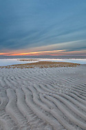 A textured tidal flat under a soft sunset sky at Chapin Beach