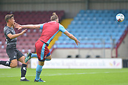 Kevin van Veen (10) of Scunthorpe United shoots at goal during the Pre-Season Friendly match between Scunthorpe United and Doncaster Rovers at Glanford Park, Scunthorpe, England on 15 August 2020.
