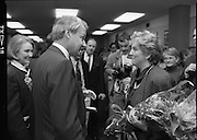 """Irish Laureate Women Of Europe Award. (T10)..1989..17.11.1989..11.17.1989..17th November 1989..Speculation regarding the Irish Laureate for the 1989 Women of Europe Award ended today when the Minister for Education, Ms Mary O'Rourke TD, announced that the Irish Laureate for this year is Grainne Kenny. Founder member of EURAD (Europe Against Drugs), and well known for her work as """"The drugs lady"""" in Ireland, Grainne Kenny has been involved in the fight against drugs since 1980. She helped form CAD, Community Action and Drugs and later EURAD. EURAD is has the active co-operation of both the European Commission and Parliament...Grainne Kenny is pictured being congratulated on her achievement by the British Ambassador, Mr Nicholas Fenn."""