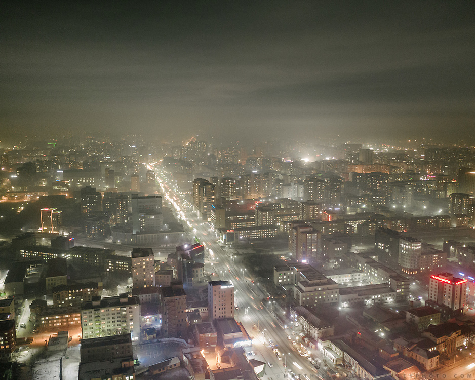 Aerial shots showing air pollution at night over Ulan Bator.
