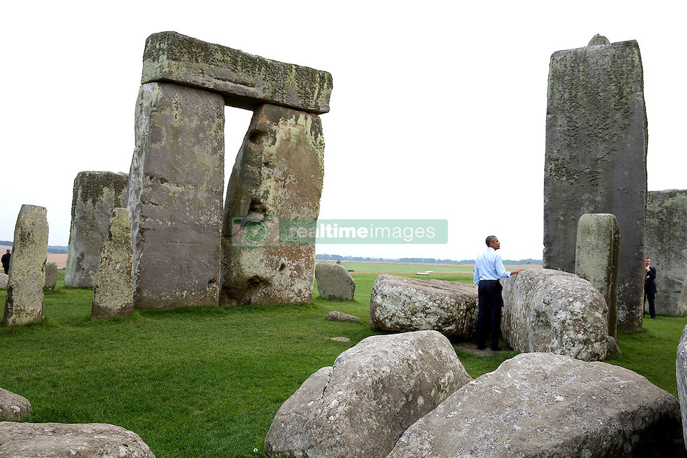 President Barack Obama visits Stonehenge in Wiltshire, England, Sept. 5, 2014. (Official White House Photo by Pete Souza)<br /> <br /> This official White House photograph is being made available only for publication by news organizations and/or for personal use printing by the subject(s) of the photograph. The photograph may not be manipulated in any way and may not be used in commercial or political materials, advertisements, emails, products, promotions that in any way suggests approval or endorsement of the President, the First Family, or the White House.