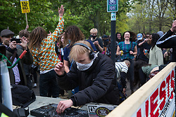 London, UK. 1st May, 2021.  A DJ entertains protesters in Vauxhall at the end of a Kill The Bill demonstration attended by thousands of people as part of a National Day of Action to coincide with International Workers Day. Nationwide protests have been organised against the Police, Crime, Sentencing and Courts Bill 2021, which would grant the police a range of new discretionary powers to shut down protests.