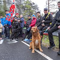 Publikum har møtt opp ved bakkespurten på Kleivtjønn under Tour of Norway sykkelritt etappe 2: Lyngdal - Kristiansand.