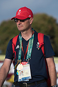 "Rio de Janeiro. BRAZIL.  GBR LM Coach, Hamish BURRELL.  2016 Olympic Rowing Regatta. Lagoa Stadium,<br /> Copacabana,  ""Olympic Summer Games""<br /> Rodrigo de Freitas Lagoon, Lagoa.   Thursday  11/08/2016 <br /> <br /> [Mandatory Credit; Peter SPURRIER/Intersport Images]"