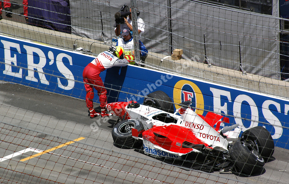 Ralf Schumacher (Toyota) after crashing in practice for the 2005 United States Grand Prix in Indianapolis. Photo: Grand Prix Photo