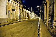 Night street in Gibara, Holguin, Cuba.