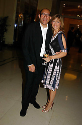 """BRUCE OLDFIELD and KATIE DERHAM at a party to celebrate the publication of Bruce Oldfield's autobiography """"Rootless"""" held in aid of Crimestoppers at Claridge's, Brook Street, London W1 on 22nd September 2004.<br /><br />NON EXCLUSIVE - WORLD RIGHTS"""