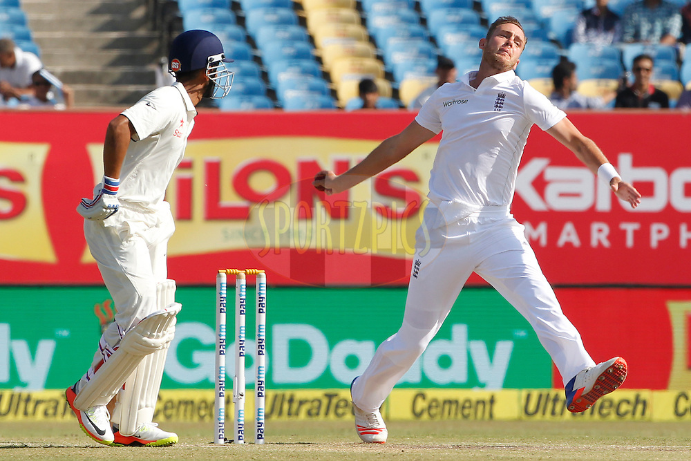 Stuart Broad of England bowls a delivery during day 4 of the first test match between India and England held at the Saurashtra Cricket Association Stadium , Rajkot on the 12th November 2016.<br /> <br /> Photo by: Deepak Malik/ BCCI/ SPORTZPICS