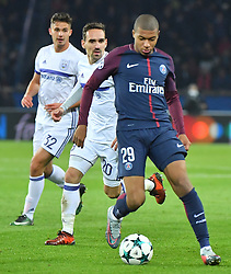 PSG's Kylian Mbappé during a soccer game between French team Paris Saint-Germain Football Club and Belgian club RSC Anderlecht, Tuesday 31 October 2017 in Paris, France, the fourth match in the group stage (Group B) of the UEFA Champions League competition. Photo by Christian Liewig/ABACAPRESS.COM