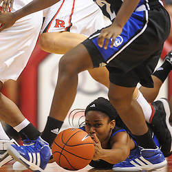 Seton Hall Pirates guard Jasmine Crew (23) tries to recover the ball she fumbled away during second half NCAA Women's Basketball action between the Rutgers Scarlet Knights and Seton Hall Pirates at the Louis Brown Athletic Center. Rutgers defeated Seton Hall 62-39.