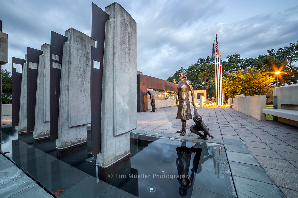 Dedicated in 2006 the Iberville Veterans Memorial honors the service of Iberville Parish veterans. Made of concrete, translucent blocks and water elements, the memorial reflects the harshness of war, the strength of our military and the importance of waterways to Iberville's history and economy.