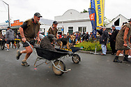Hunterville, New Zealand - October 27, 2018 - Two shepherds race with their dogs in wheelbarrows during the annual Shemozzle obstacle race that is held in this small rural town. This annual event, in which the canines and shepherds tackkle mudslides, ride in wheel barrows and carry bulls testicles, draws thousands every year to this town of less than 500 people. Picture: Giordano Stolley