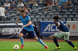 September 5, 2018 - Bronx, New York, United States - New York City defender BEN SWEAT #2 dribbles the ball against New England Revolution midfielder ISAAC ANGKING #5 during a regular season match at Yankee Stadium in Bronx, NY.  New England Revolution defeats New York City FC 1 to 0 (Credit Image: © Mark Smith/ZUMA Wire)