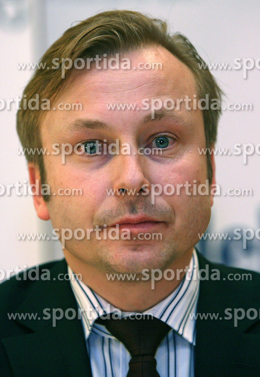 President of AZS dr. Peter Kukovica when Athletic Federation of Slovenia (AZS) and top Slovenian athletes sign a contract of sponsorship, on February 14, 2008 in M-Hotel, Ljubljana, Slovenia. (Photo by Vid Ponikvar / Sportal Images)