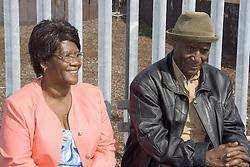 An elderly couple enjoying the sunshine,