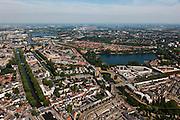 Nederland, Noord-Brabant, Den Bosch, 08-07-2010; Zuid-Willemsvaart (links), lateraalkanaal van de Maas, verbindt Maastricht met Den Bosch. Het kanaal rechts de Aa, de plas De IJzeren Vrouw..Het laatste deel van de Willemsvaart door de binnenstad is te klein, er wordt een nieuwe aftakking naar de Maas gegraven (buiten de stad om). .South Willemsvaart, lateral channel of the Meuse, connects Maastricht with Den Bosch.The last part of the canal through the town is too small, a new branch is being dug (outside the city)..luchtfoto (toeslag), aerial photo (additional fee required).foto/photo Siebe Swart