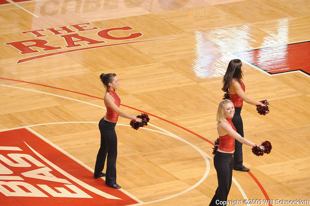 Jan 31, 2009; Piscataway, NJ, USA; The Rutgers University Dance Team performs during the second half of South Florida's 59-56 victory over Rutgers in NCAA women's college basketball at the Louis Brown Athletic Center