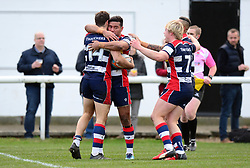 Luke Morahan of Bristol Rugby celebrates scoring a try with team mates - Mandatory by-line: Dougie Allward/JMP - 30/12/2017 - RUGBY - The Athletic Ground - Richmond, England - Richmond v Bristol Rugby - Greene King IPA Championship