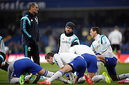 Diego Costa of Chelsea (c)  looking on during pre-match training. Barclays Premier league match, Chelsea v Southampton at Stamford Bridge in London on Sunday 15th March 2015.<br /> pic by John Patrick Fletcher, Andrew Orchard sports photography.