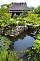 Issuien Garden is divided into two sections, originally two separate gardens: The small western garden is built around a pond with two islands representing the crane and turtle, classic symbols of longevity.  The rear garden was probably designed by Horitoku, with a pavilion on the west side of the pond.  The pond in the eastern garden inscribes the Chinese character for water and contains a small island, reached by stepping stones. Its layout is that of a strolling garden with some hills and a waterfall.