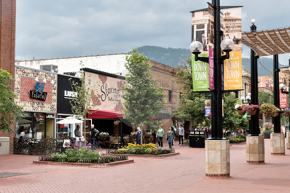 The downtown historic shopping and restaurant district called the Pearl Street Mall in Boulder, Colorado.