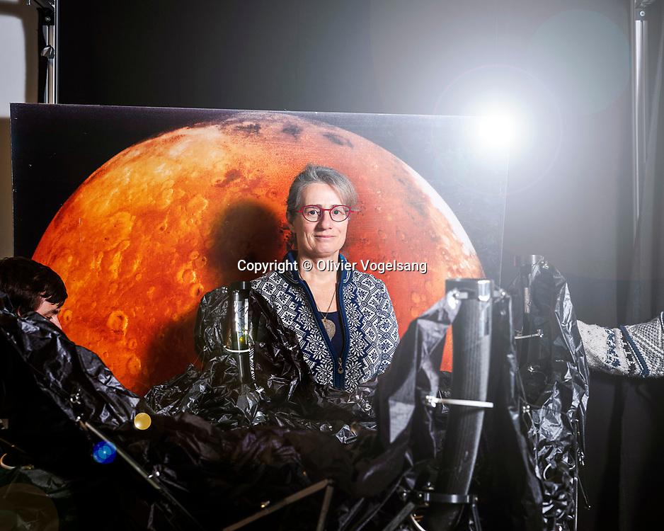 Lausanne, janvier 2020.. EPFL. Muriel Richard-Noca est co-fondatrice de la startup ClearSpace qui développe une solution pour nettoyer l'espace proche de la Terre des débris liés aux lancements spatiaux qui s'y trouvent.  © Olivier Vogelsang
