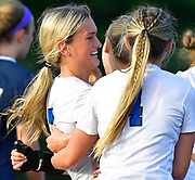 Columbia teammates congratulate Taylor Martin (left) on her first half goal. Althoff played Columbia in the sectional championship game at Althoff High School in Belleville, IL on Friday June 11, 2021. <br /> Tim Vizer/Special to STLhighschoolsports.com.