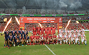 Winners Canada with runners up USA and third placed England after the HSBC World Rugby Sevens Series, Singapore, Cup Final match USA -V- Canada  at The National Stadium, Singapore on Sunday, April 16, 2017. (Steve Flynn/Image of Sport)