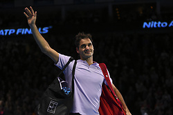 November 18, 2017 - London, England, United Kingdom - Roger Federer of Switzerland celebrates after being defeated by David Goffin of Belgium in their semi-final match today - Goffin def Federer 2-6, 6-3, 6-4 at O2 Arena on November 18, 2017 in London, England. (Credit Image: © Alberto Pezzali/NurPhoto via ZUMA Press)