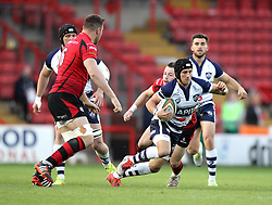 Bristol's Matthew Morgan takes on the Jersey players - Photo mandatory by-line: Robbie Stephenson/JMP - Mobile: 07966 386802 - 17/04/2015 - SPORT - Rugby - Bristol - Ashton Gate - Bristol Rugby v Jersey - Greene King IPA Championship
