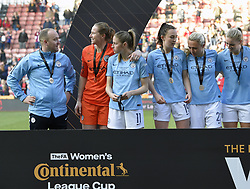 February 23, 2019 - Sheffield, England, United Kingdom - Nick Cushing enjoyes the moment with his players after winning the league cup during the  FA Women's Continental League Cup Final  between Arsenal and Manchester City Women at the Bramall Lane Football Ground, Sheffield United FC Sheffield, Saturday 23rd February. (Credit Image: © Action Foto Sport/NurPhoto via ZUMA Press)