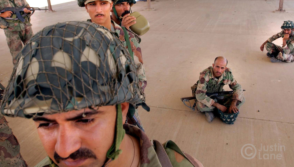 Members of the New Iraqi Army are seen during training at a base outside of Baghdad.