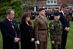 © under licence to London News Pictures 11/11/2010 Solihull School, West Midlands, came to a standstill at 11am this morning to take part in the school Armistice service. Former pupil Alex Gay (centre) now an officer in the Royal Fusilers prepares to lay a wreath...
