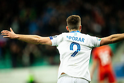 Andraž Šporar of Slovenia celebrates after first goal of Slovenia during football match between National teams of Slovenia and North Macedonia in Group G of UEFA Euro 2020 qualifications, on March 24, 2019 in SRC Stozice, Ljubljana, Slovenia. Photo by Vid Ponikvar / Sportida