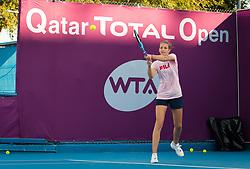 February 12, 2019 - Doha, QATAR - Karolina Pliskova of the Czech Republic practices at the 2019 Qatar Total Open WTA Premier tennis tournament (Credit Image: © AFP7 via ZUMA Wire)