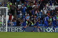 Sean Morrison of Cardiff city (4 centre) celebrates with teammates after he scores his teams 1st goal. EFL Skybet championship match, Cardiff city v Sheffield Utd at the Cardiff City Stadium in Cardiff, South Wales on Tuesday 15th August 2017.<br /> pic by Andrew Orchard, Andrew Orchard sports photography.