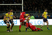 Taiasina Tuifua of Lyon and Fransisco Gomez Kodela of Lyon during the French championship Top 14 Rugby Union match between Lyon OU and Clermont on February 17, 2018 at Groupama stadium in Lyon, France - Photo Romain Biard / Isports / ProSportsImages / DPPI